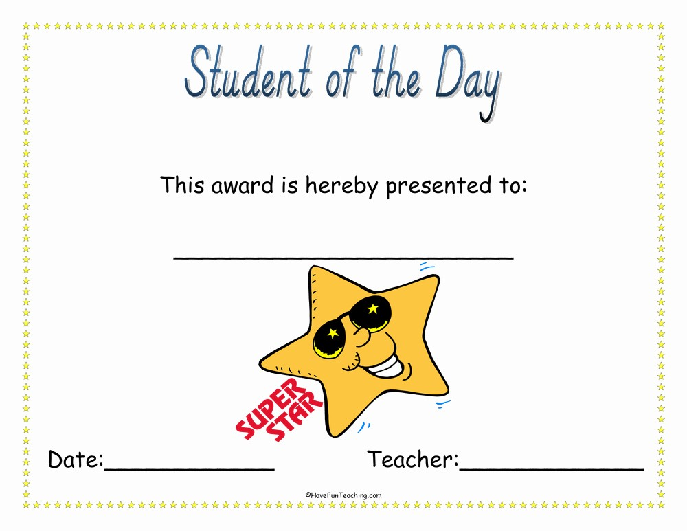 Student Of the Day Certificate Fresh Student Of the Day Award Certificate