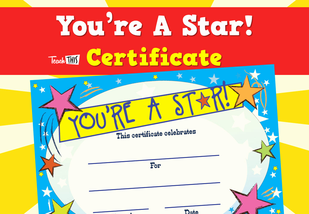 Student Of the Day Certificate Lovely You Re A Star Certificate Printable Classroom Student