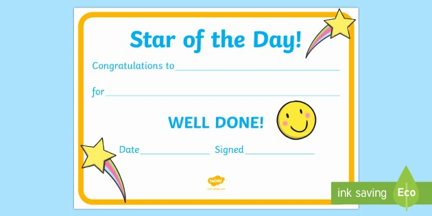 Student Of the Day Certificate New Free Star Of the Day Award Certificate Star Of the