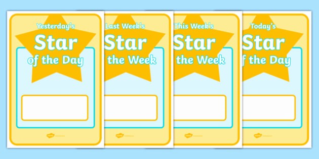 Student Of the Day Certificate Unique Student Star Of the Day & Week Display Posters Star Of the