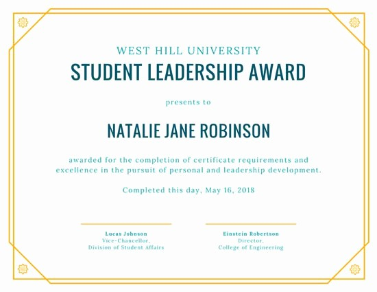 Student Of the Day Certificate Unique Yellow Student Leadership Award Certificate Templates by