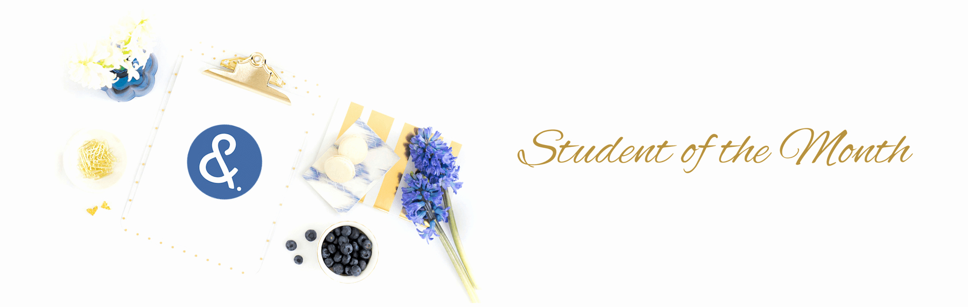 Student Of the Month Banner Elegant Kym Jackson Shen Wedding and event Planning Courses