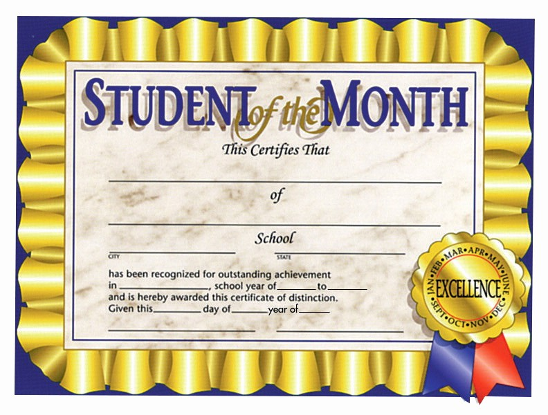 Student Of the Month Banner New Certificate School Specialty Marketplace