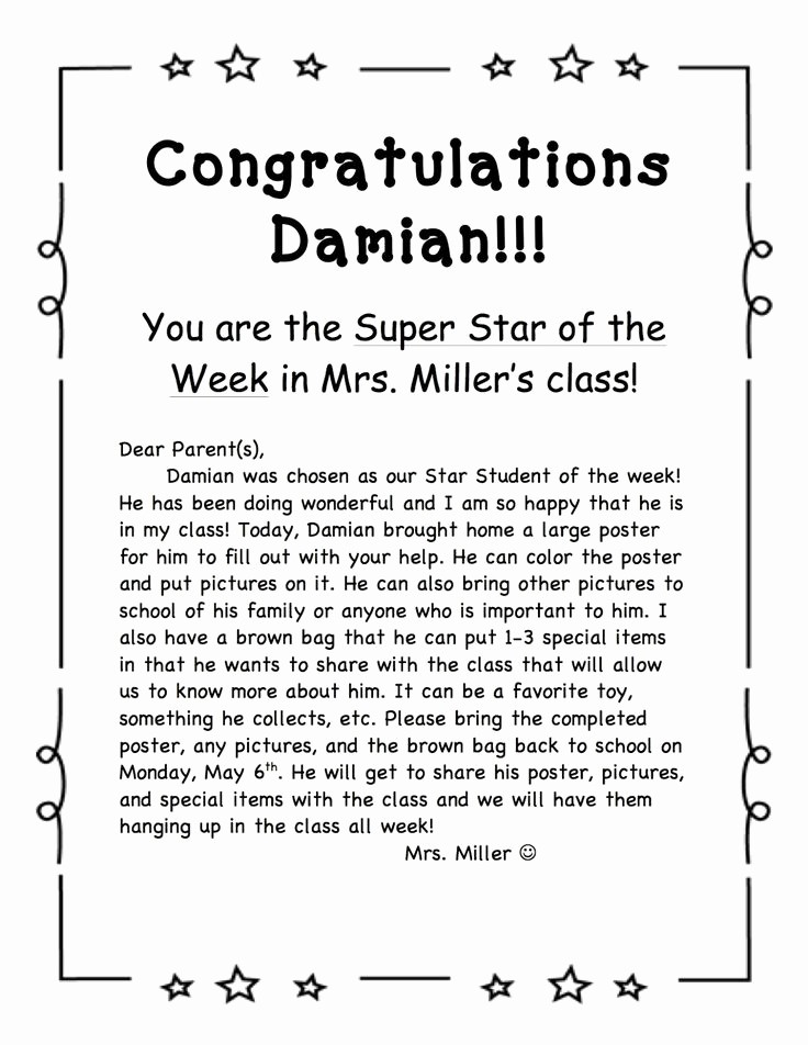 Student Of the Week Posters Best Of Star Student the Week Template Invitation Template