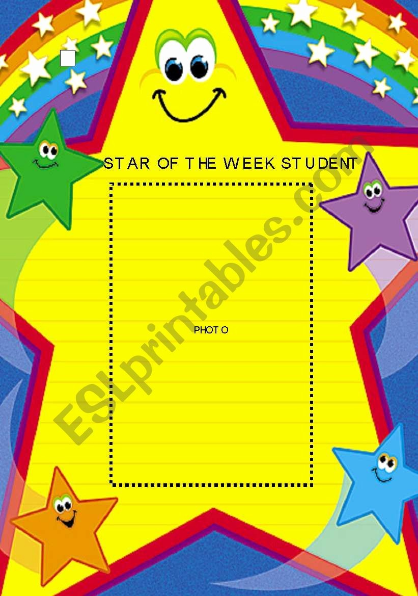 Student Of the Week Posters Luxury Star Of the Week Student Photo Poster Esl Worksheet by Mandm