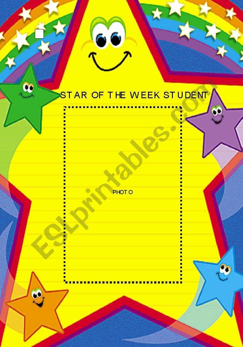 Student Of the Week Posters Luxury Star Of the Week Student Photo Poster Esl Worksheet by Mandm