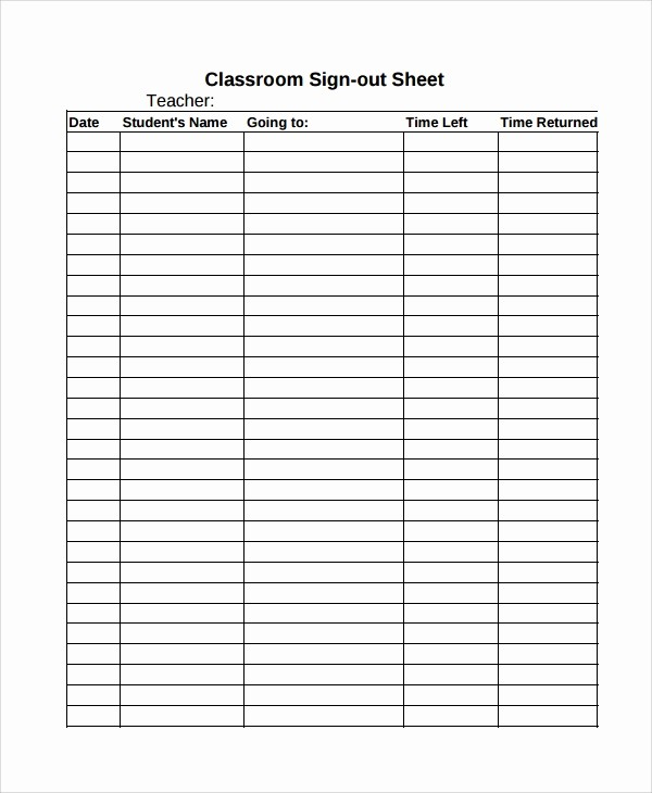 Student Sign In Sheet Template Awesome Sample Classroom Sign Out Sheet 8 Free Documents