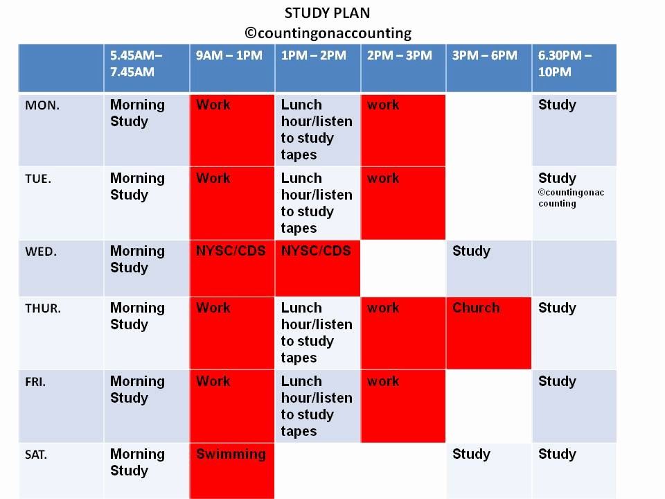 Study Plan Template for Students Awesome Study Plan