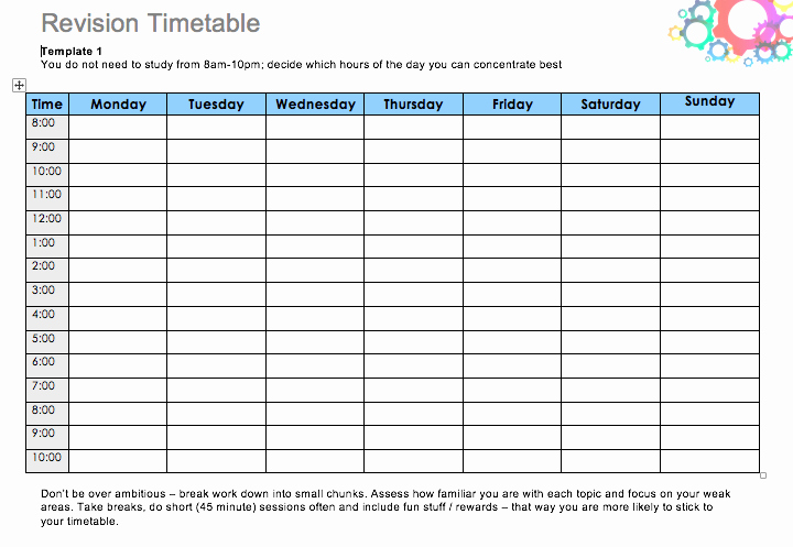 Study Plan Template for Students Beautiful Daily Study Timetable for Students