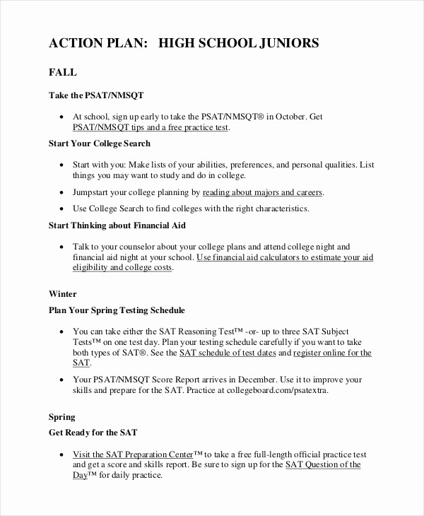 Study Plan Template for Students Best Of Student Action Plan Template 8 Free Word Pdf format