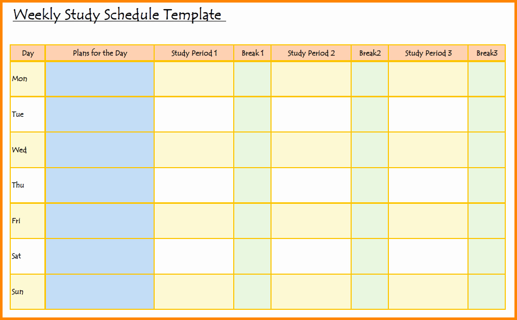 Study Plan Template for Students Fresh Study Schedule Template