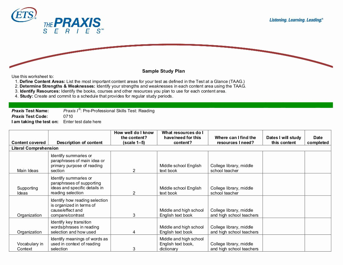 Study Plan Template for Students Unique 9 Study Plan Templates for Students