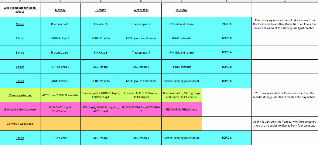 Study Plan Template for Students Unique Study Plan Template