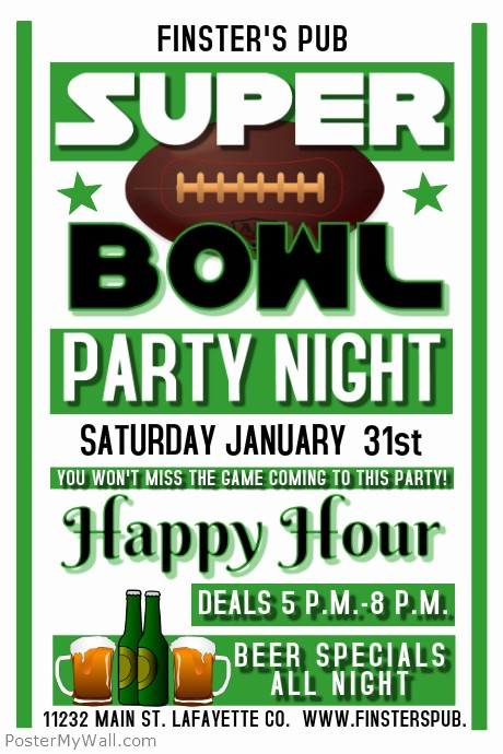 Super Bowl Party Flyer Template Beautiful Super Bowl Template
