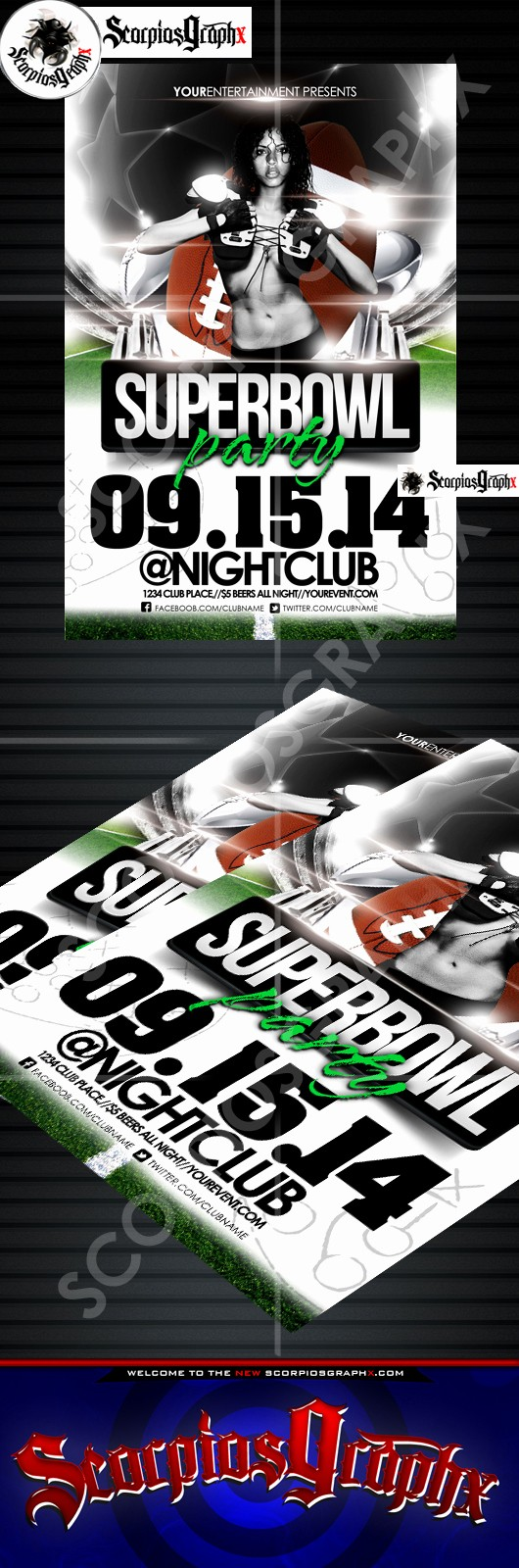 Super Bowl Party Flyer Template Beautiful Superbowl Flyer Template by Scorpiosgraphx On Deviantart