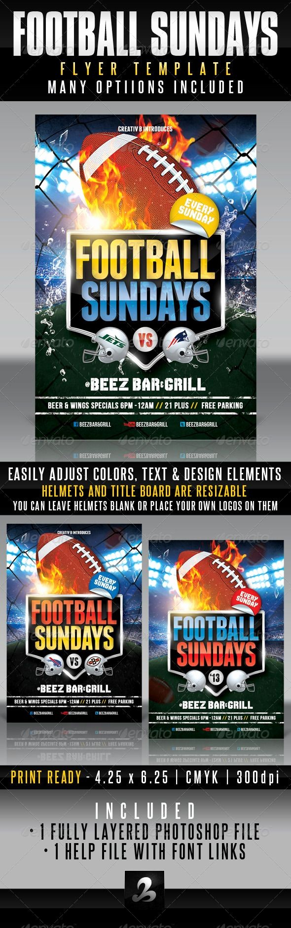 Super Bowl Party Flyer Template Fresh Sport Bar event Flyers Sports Bars American