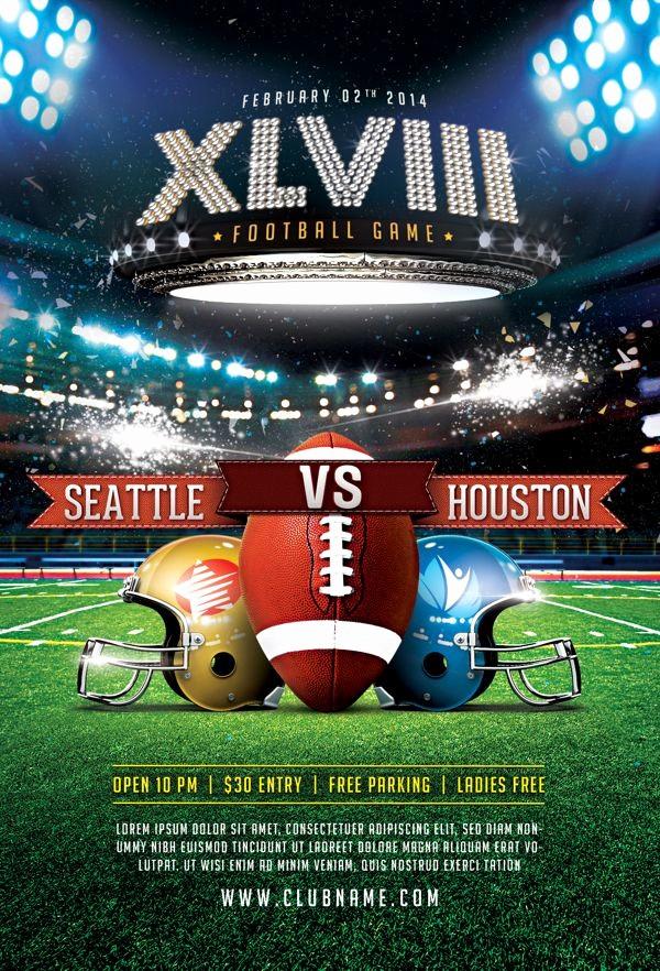 Super Bowl Party Flyer Template Inspirational Xlviii Football Game Flyer Template by Easybrandz Via