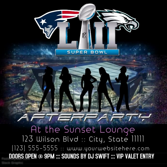 Super Bowl Party Flyer Template Lovely Superbowl afterparty Instagram Flyer Interactive Template