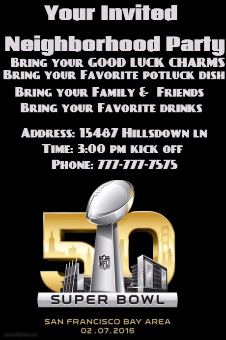 Super Bowl Party Flyer Template Luxury Superbowl Party Template