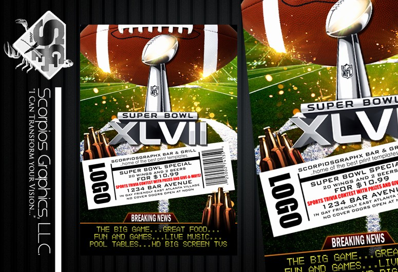 Super Bowl Party Flyer Template New Breaking News 2013 Superbowl Flyer Template ‹ Psdbucket