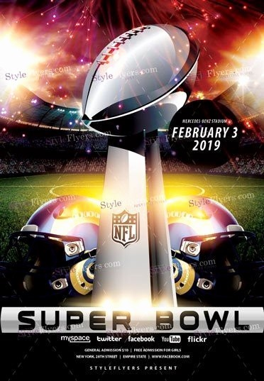 Super Bowl Party Flyer Template New Super Bowl Psd Flyer Template Styleflyers