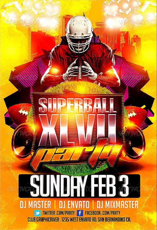Super Bowl Party Flyer Template Unique Party Flyer Examples