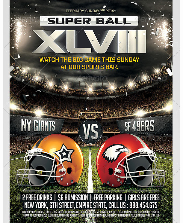 Super Bowl Party Flyer Template Unique Super Ball Football Flyer Template Party Flyer Templates