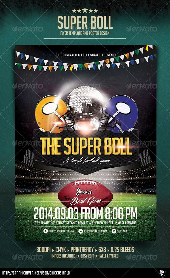 Super Bowl Party Flyer Template Unique Super Boll Flyer Template