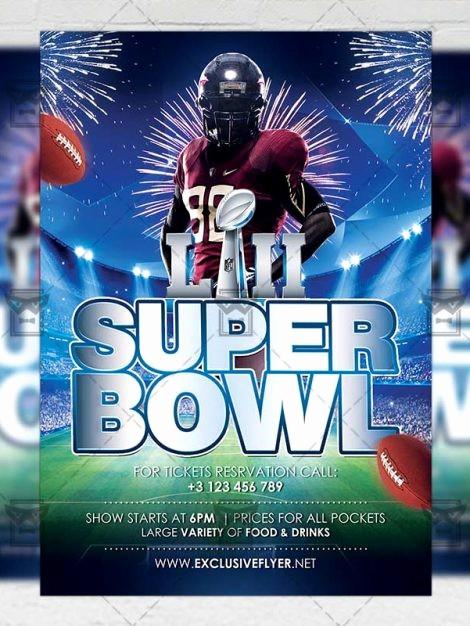 Super Bowl Party Flyer Template Unique Super Bowl – Sport A5 Flyer Template