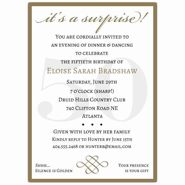 Surprise Birthday Party Invitation Template Awesome Classic 50th Birthday Gold Surprise Party Invitations