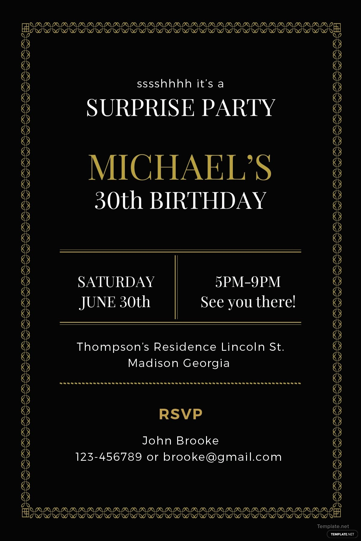 Surprise Birthday Party Invitation Template Awesome Free Surprise Party Invitation Template In Adobe