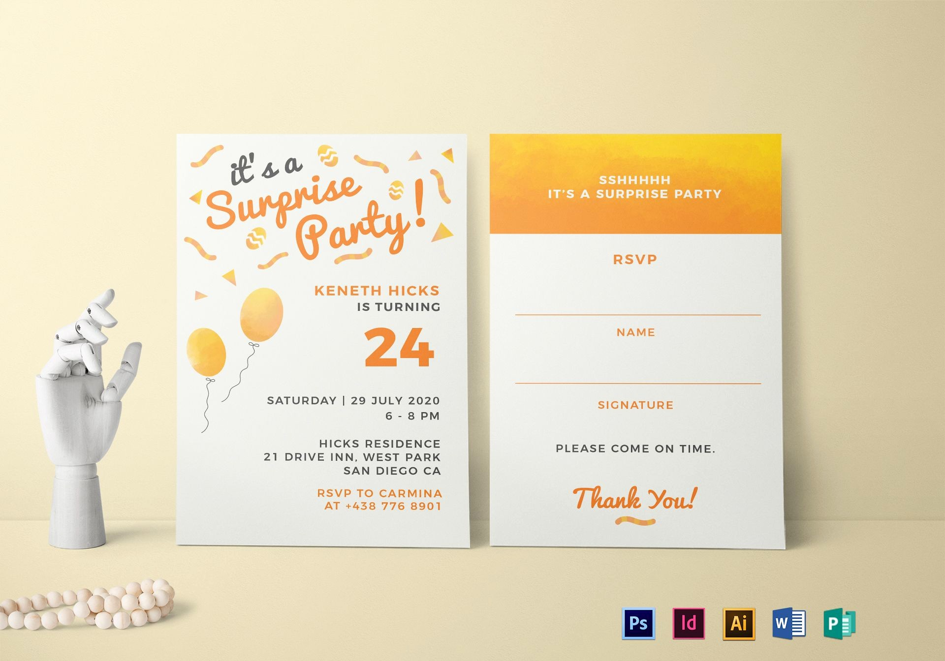 Surprise Birthday Party Invitation Template Beautiful Surprise Birthday Party Invitation Design Template In Psd