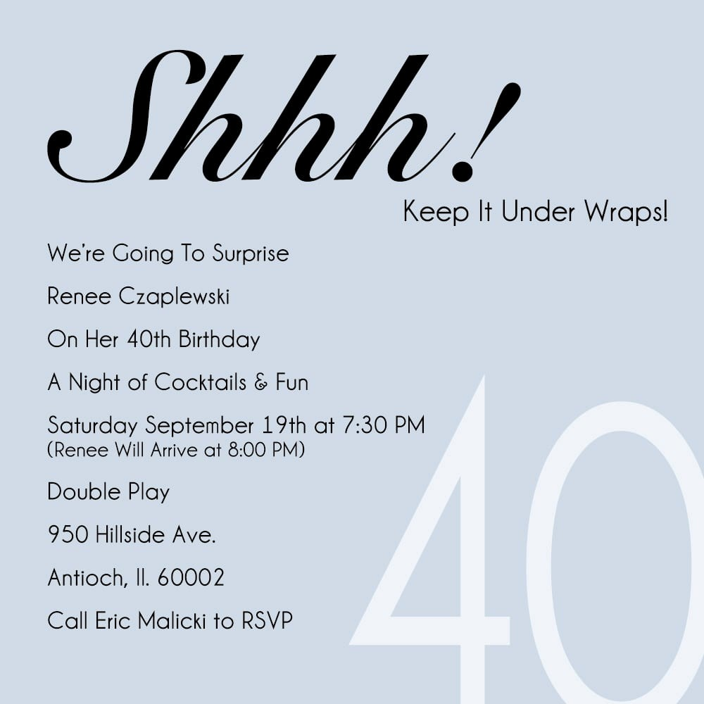 Surprise Birthday Party Invitation Template Elegant 40th Party Invitation Template Free