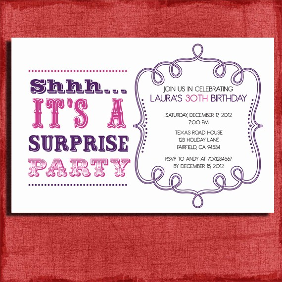 Surprise Birthday Party Invitation Template Elegant Free Surprise Birthday Party Invitations Templates