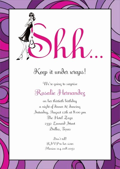 Surprise Birthday Party Invitation Template Elegant Surprise Birthday Party Invitation Wording