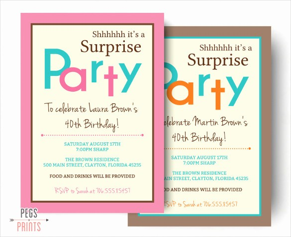 Surprise Birthday Party Invitation Template Fresh 26 Surprise Birthday Invitation Templates – Free Sample