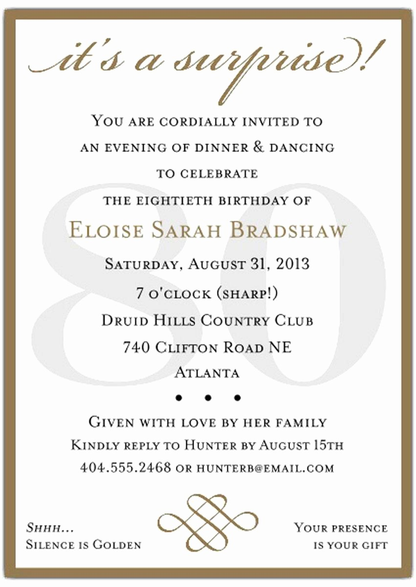 Surprise Birthday Party Invitation Template Inspirational 10 Sample 80th Birthday Party Invitations