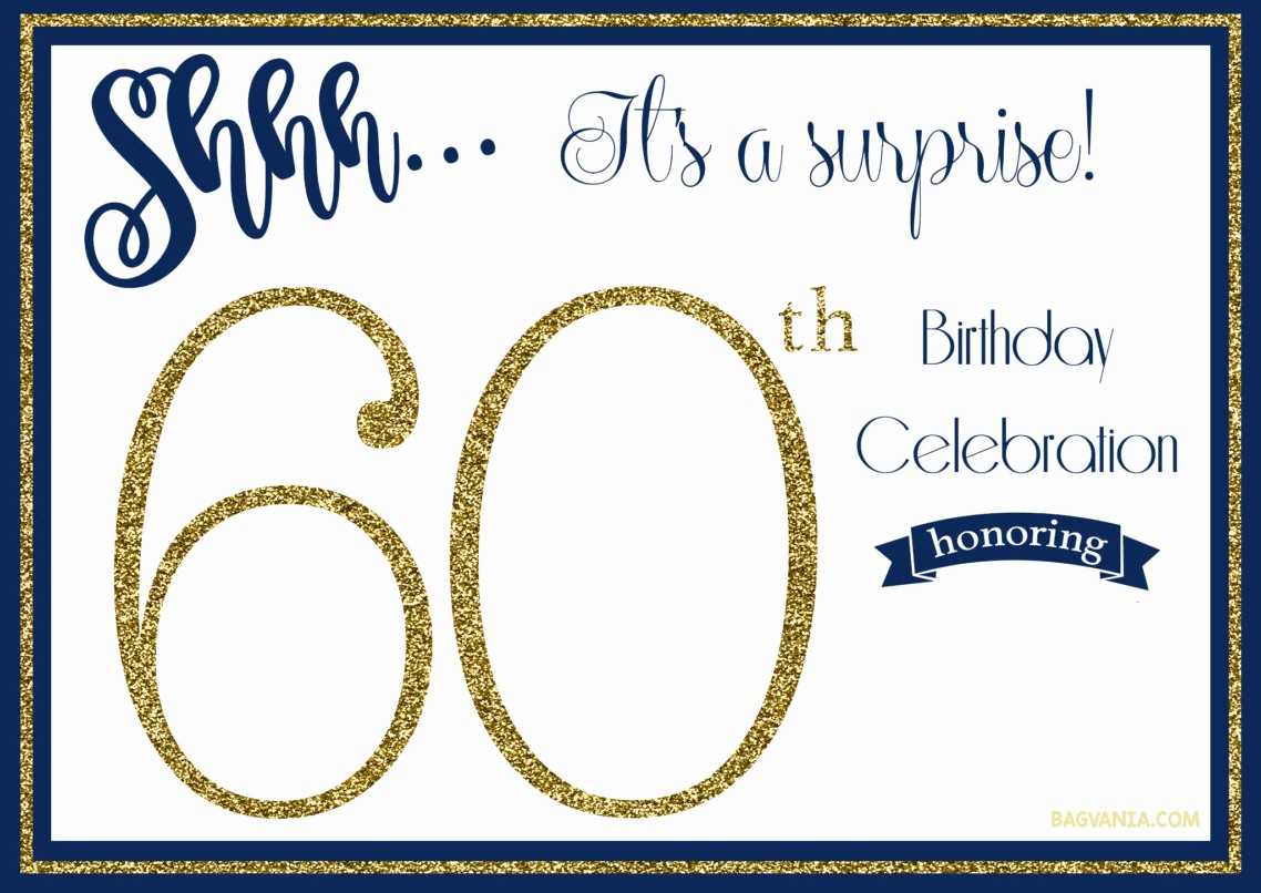 Surprise Birthday Party Invitation Template Inspirational Free Printable 60th Birthday Invitations