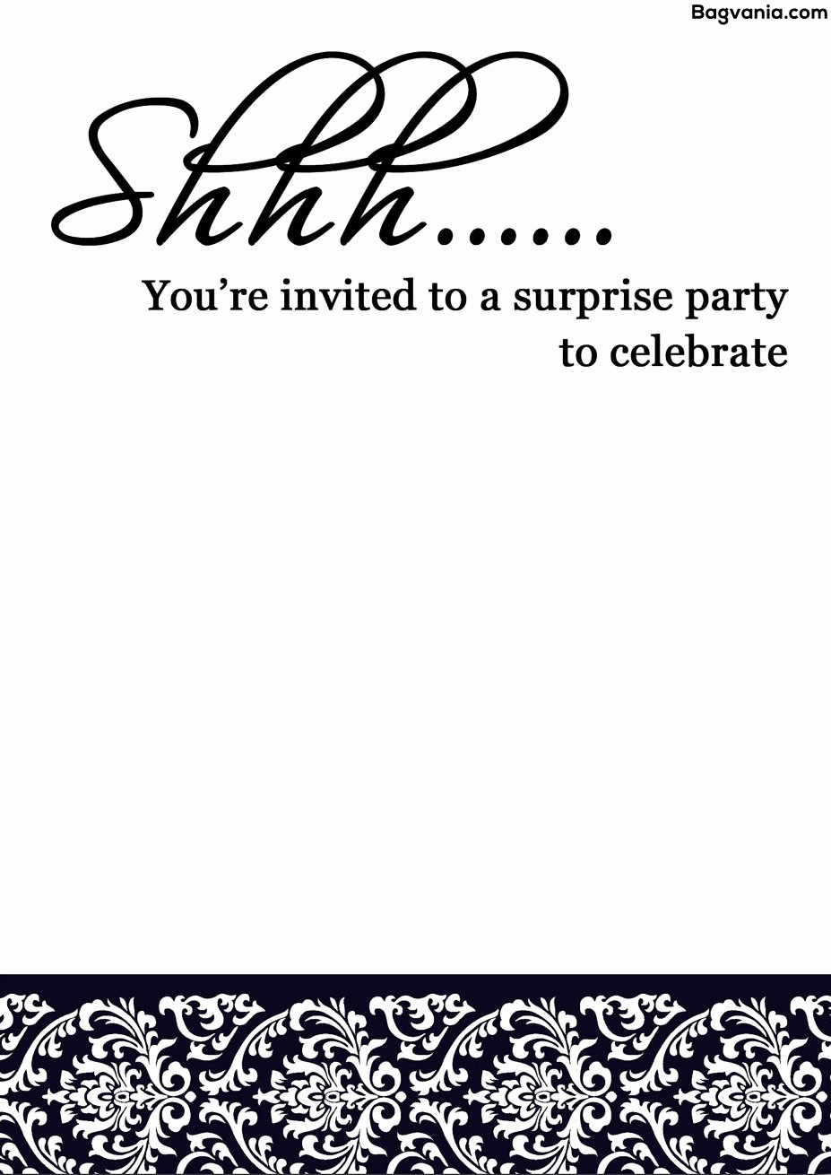 Surprise Birthday Party Invitation Template Lovely Free Printable Surprise Birthday Invitations – Bagvania