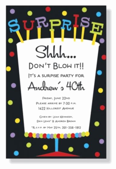 Surprise Birthday Party Invitation Template Lovely Wording for Surprise Birthday Party Invitations