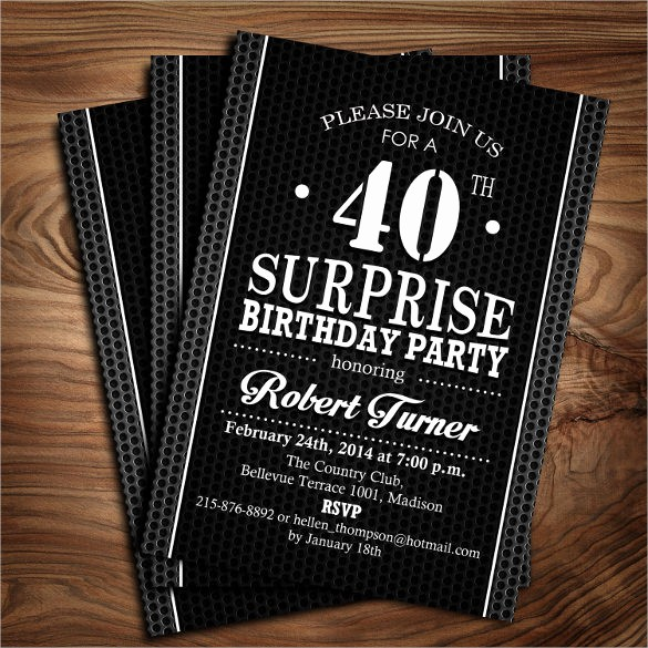 Surprise Birthday Party Invitation Template Luxury 24 40th Birthday Invitation Templates – Psd Ai