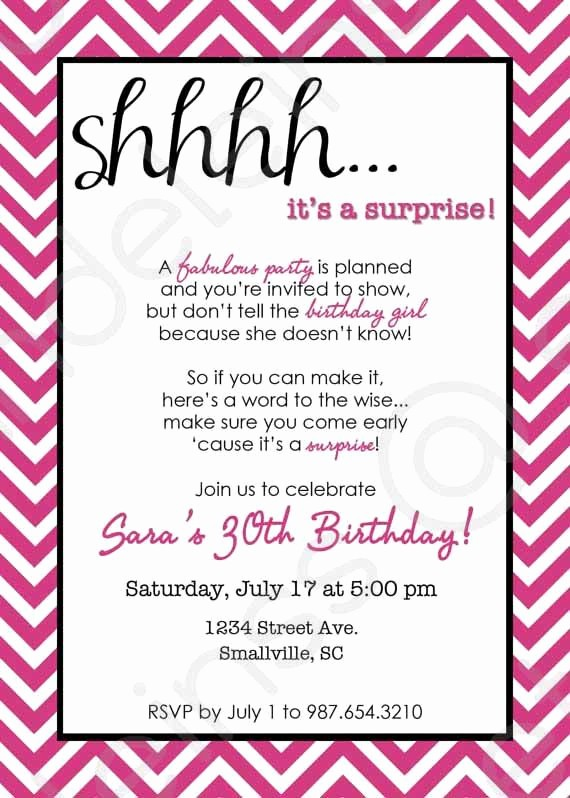 Surprise Birthday Party Invitation Template New Chevron Surprise Party Invitation