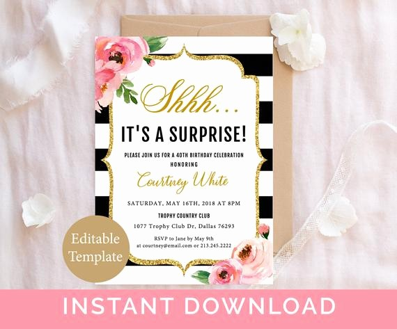 Surprise Birthday Party Invitation Template New Surprise Birthday Invitation Template Adult Birthday Party