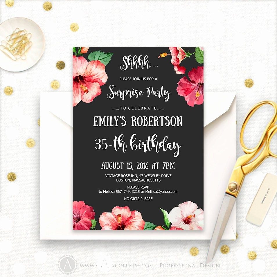 Surprise Birthday Party Invitation Template New Surprise Birthday Party Invitations Printable Hibiscus