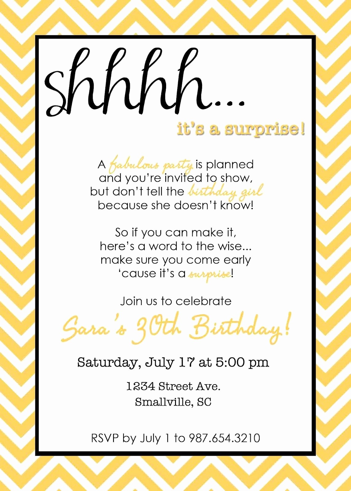 Surprise Birthday Party Invitation Template Unique Wording for Surprise Birthday Party