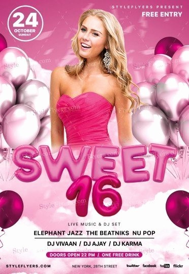 Sweet 16 Guest List Template Beautiful Sweet 16 Psd Flyer Template Styleflyers