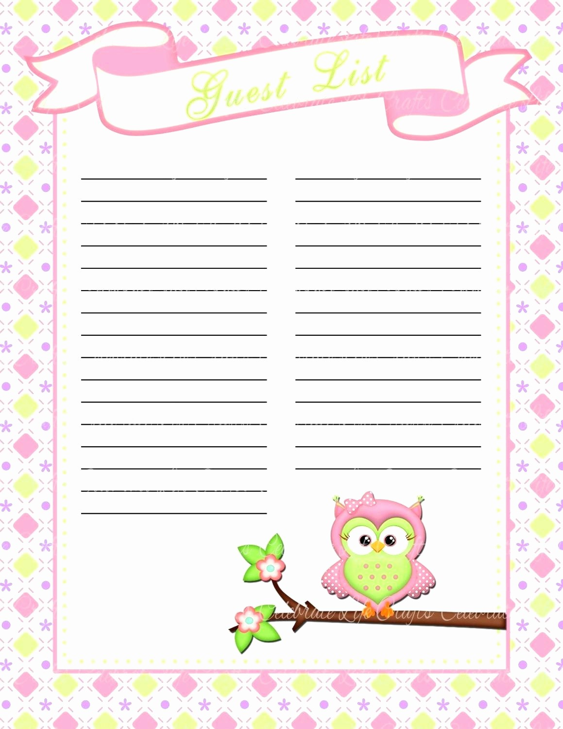 Sweet 16 Guest List Template Fresh Template Guestlist Template Planning Printable Wedding