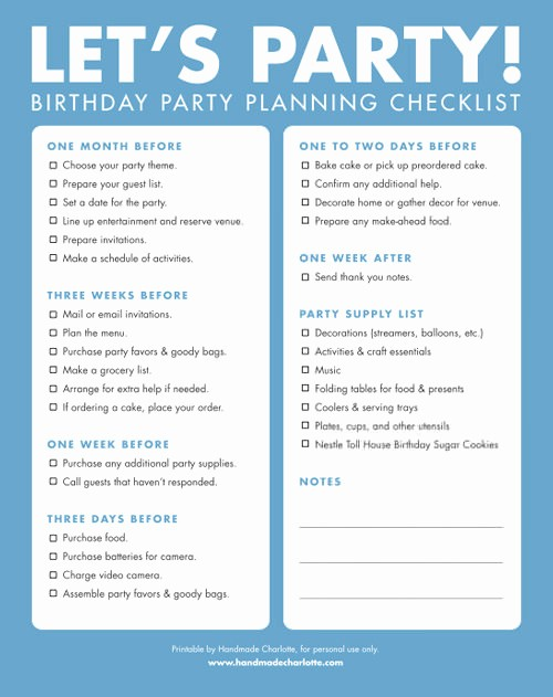 Sweet 16 Guest List Template Inspirational Diy Printable Birthday Party Checklist ⋆ Handmade Charlotte