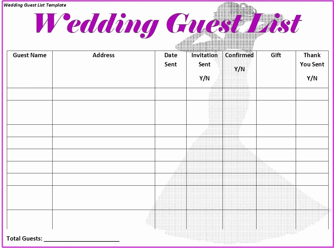 Sweet 16 Guest List Template Inspirational Template Guestlist Template Planning Printable Wedding