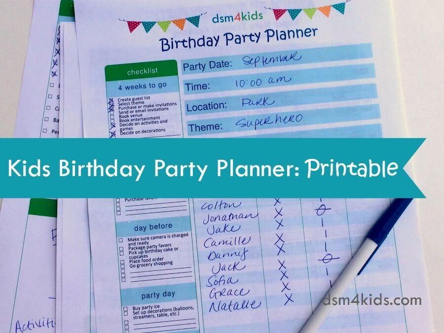 Sweet 16 Guest List Template Luxury Kids Birthday Party Planner Printable Dsm4kids